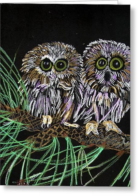 Saw Pastels Greeting Cards - Whos Whoo Greeting Card by Arlene  Wright-Correll