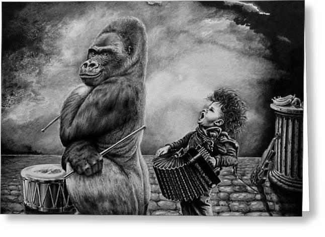 Gorilla Drawings Greeting Cards - Why did you stop Greeting Card by Geni Gorani