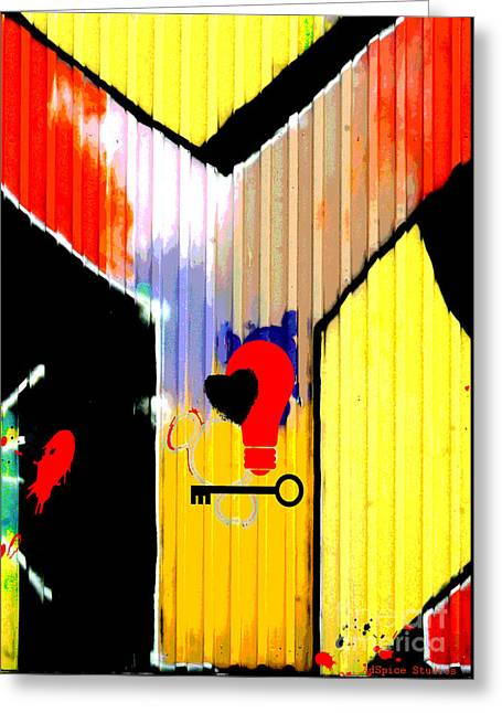 Spray Can Greeting Cards - Bright Graffiti Wall Typography - Yellow and Red Greeting Card by ArtyZen Studios - ArtyZen Home