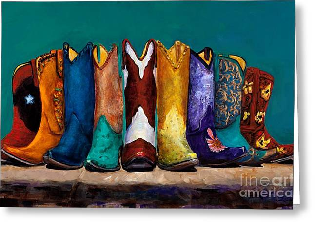 Cowgirl Boots Greeting Cards - Why Real Men Want to be Cowboys 2 Greeting Card by Frances Marino