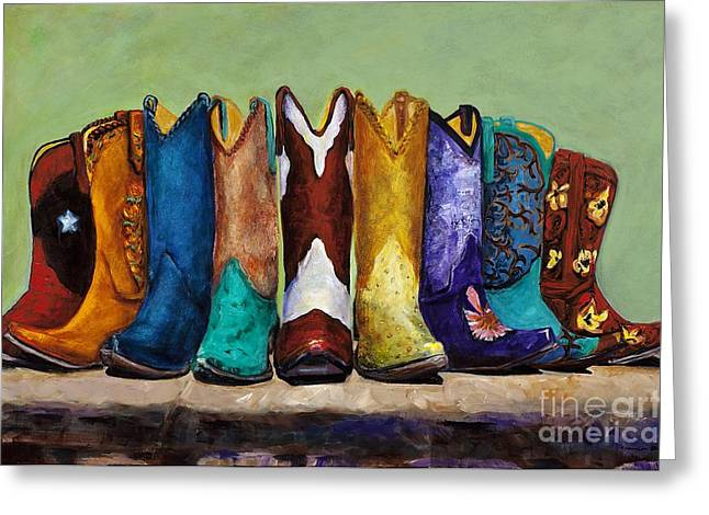 Western Boots Greeting Cards - Why Real Men Want to be Cowboys Greeting Card by Frances Marino