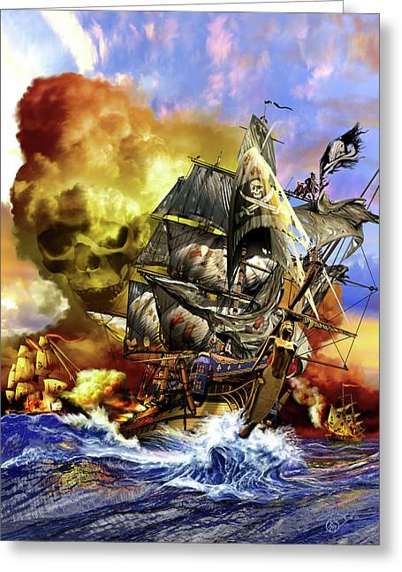 Pirate Ship Mixed Media Greeting Cards - Whydah Greeting Card by Kurt Miller