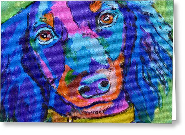 Puppies Paintings Greeting Cards - Whymsical Willow Greeting Card by Toni Wolf