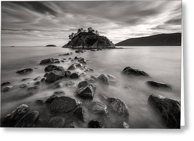 Exposure Greeting Cards - Whytecliff Park Seascape BW Greeting Card by Pierre Leclerc Photography