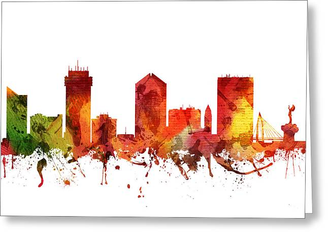 Wichita Skyline Greeting Cards - Wichita Cityscape 04 Greeting Card by Aged Pixel