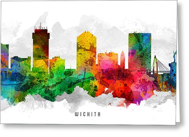 Wichita Greeting Cards - Wichita Kansas Cityscape 12 Greeting Card by Aged Pixel