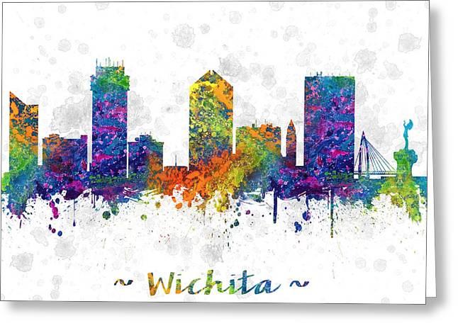 Wichita Greeting Cards - Wichita Kansas Skyline color 03SQ Greeting Card by Aged Pixel