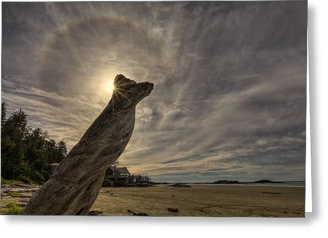 Wickaninnish Beach Sun Halo Greeting Card by Mark Kiver