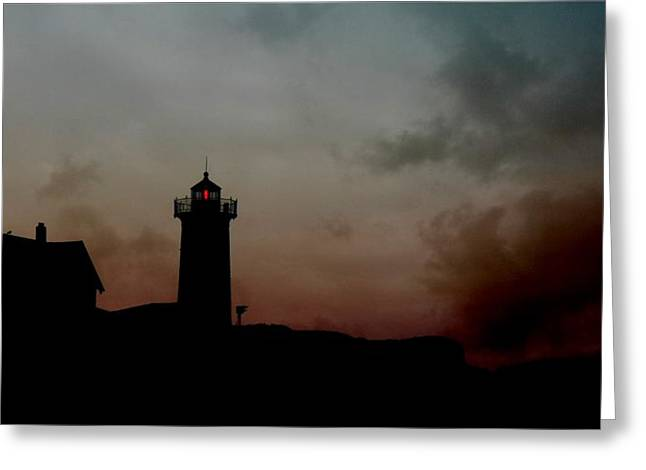 Cape Neddick Lighthouse Greeting Cards - Wicked Dawn Greeting Card by Lori Deiter