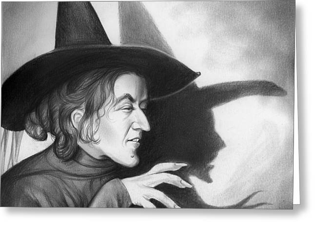 Classic Hollywood Drawings Greeting Cards - Wicked Witch of the West Greeting Card by Greg Joens