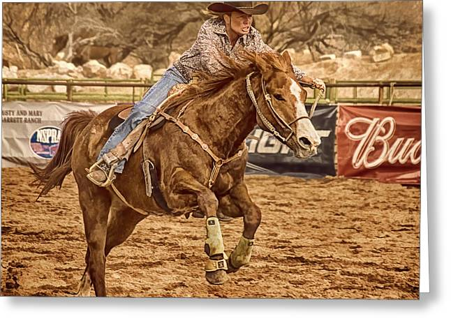 Dude Ranch Greeting Cards - Wickenburg Senior Pro Rodeo Barrel Racing Greeting Card by Priscilla Burgers