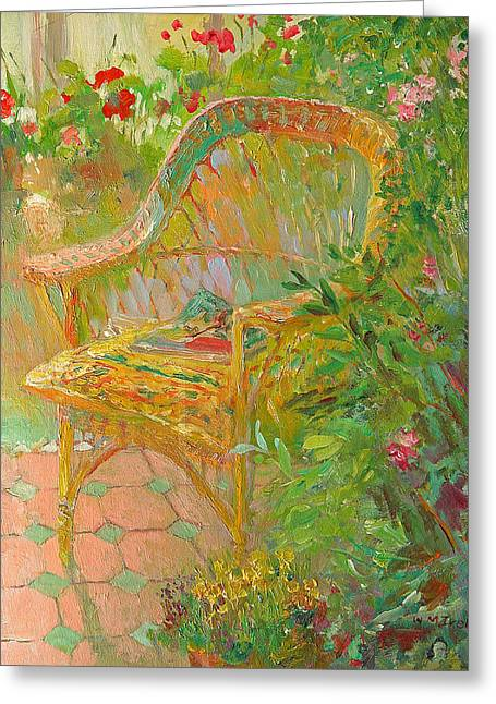 Wicker Furniture Greeting Cards - Wicker Chair Greeting Card by William Ireland