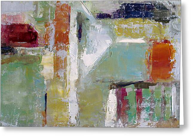 Pallet Knife Greeting Cards - Wide Abstract A Greeting Card by Becky Kim