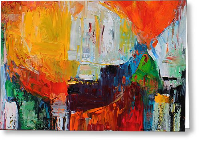 Pallet Knife Greeting Cards - Wide Abstract F Greeting Card by Becky Kim