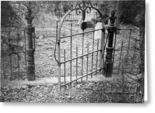White Digital Art Greeting Cards - Wide is the Gate Greeting Card by Kate  Word
