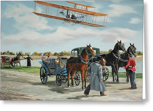 Wilbur Wright In France Greeting Card by Kenneth Young
