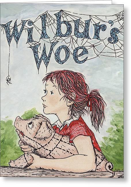 Wilbur's Woe Greeting Card by Twyla Francois
