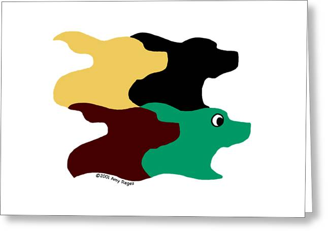 Chocolate Lab Greeting Cards - Wild and Crazy Tessellating Dogs Greeting Card by Amy Reges