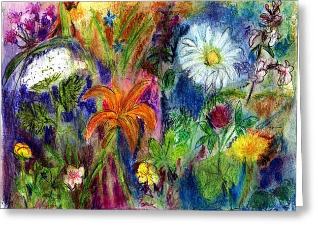 Violet Blue Pastels Greeting Cards - Wild Backyard Meadow Greeting Card by Diana Ludwig
