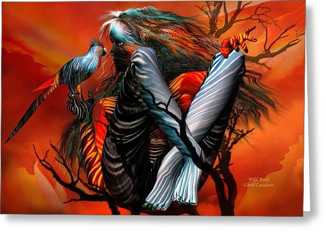 Wild Birds Greeting Card by Carol Cavalaris