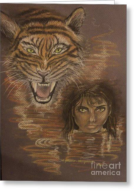 The Tiger Pastels Greeting Cards - Wild Cat Eyes Greeting Card by  Gayle  Hartman