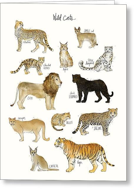 Wild Cats Greeting Card by Amy Hamilton