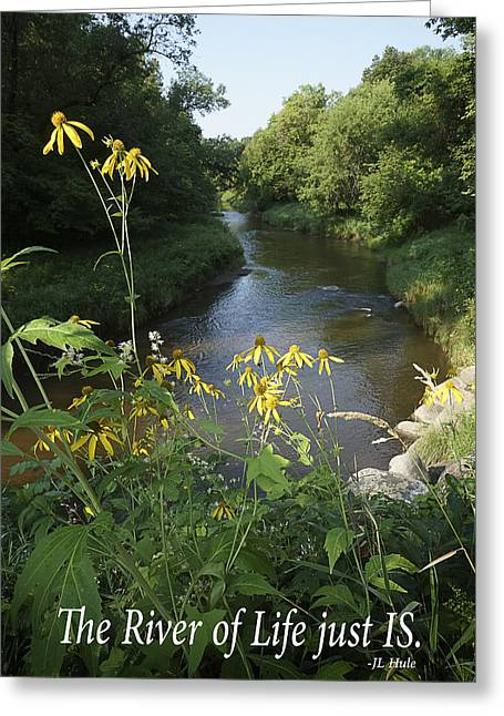 Inspirational Saying Greeting Cards - Wild Flowers and River with Inspirational Text Greeting Card by Donald  Erickson