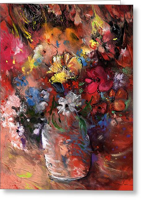 Wild Flowers Bouquet In A Terracota Vase Greeting Card by Miki De Goodaboom