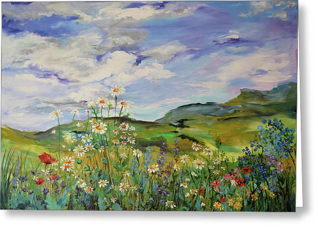 Wild Flowers Landscape - Poppies And Daisies Large Floral Painting Greeting Card by Soos Roxana Gabriela