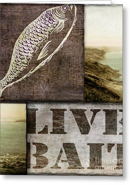 Log Cabins Greeting Cards - Wild Game Live Bait Fishing Greeting Card by Mindy Sommers