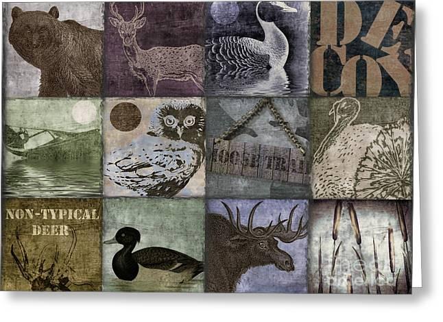 Rustic Cabin Greeting Cards - Wild Game Patchwork II Greeting Card by Mindy Sommers