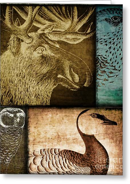 Woodcut Paintings Greeting Cards - Wild Game Primitive Patchwork Greeting Card by Mindy Sommers