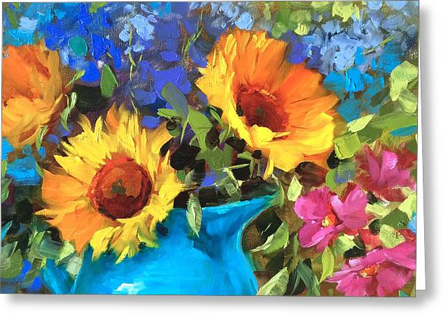Warm Paintings Greeting Cards - Wild Garden Sunflowers Greeting Card by Nancy Medina