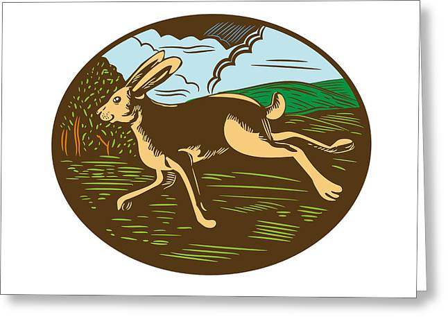 Wild Hare Rabbit Running Oval Woodcut Greeting Card by Aloysius Patrimonio