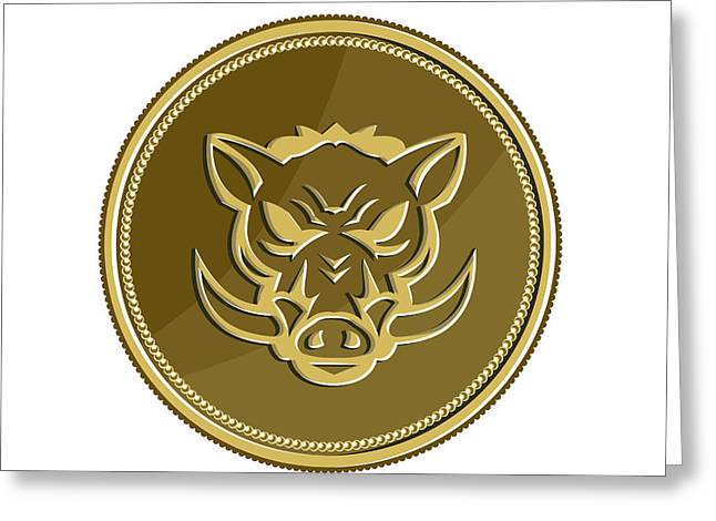 Wild Hog Head Angry Gold Coin Retro Greeting Card by Aloysius Patrimonio
