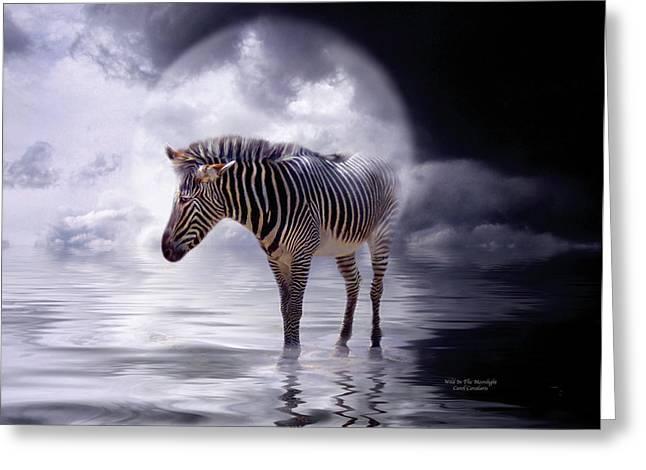 Wild In The Moonlight Greeting Card by Carol Cavalaris