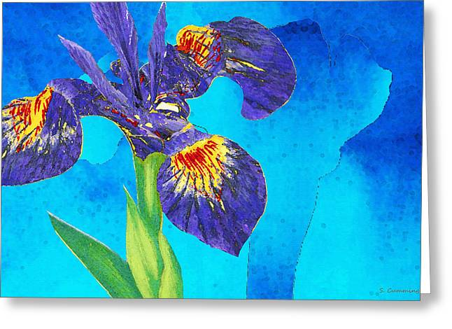 Wild Iris Art By Sharon Cummings Greeting Card by Sharon Cummings