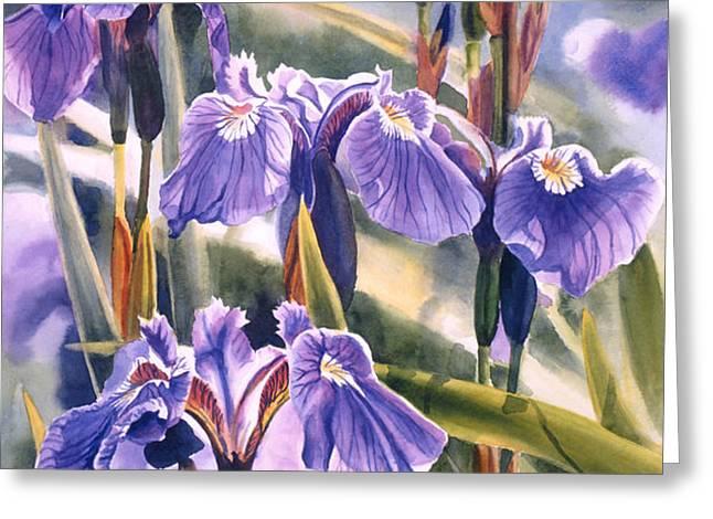 Wild Irises #1 Greeting Card by Sharon Freeman