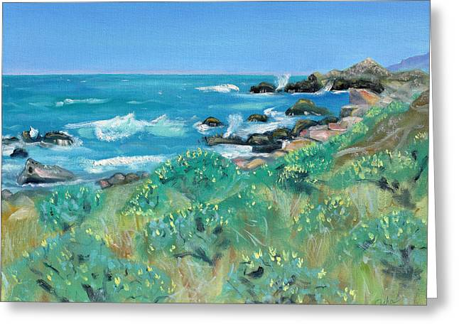 Sonoma County Paintings Greeting Cards - Wild Lupin at Gerstle Cove Park in May Greeting Card by Asha Carolyn Young