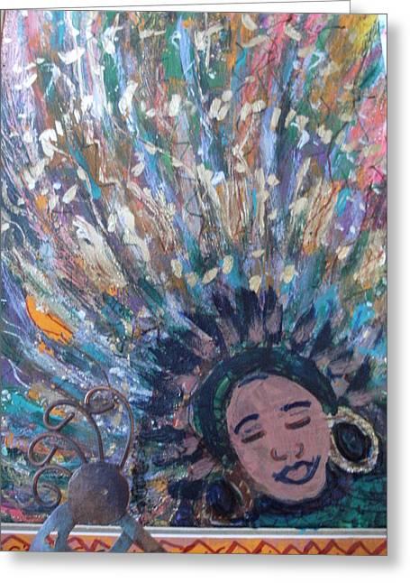 Wild Mardi Gras Girl Greeting Card by Anne-Elizabeth Whiteway