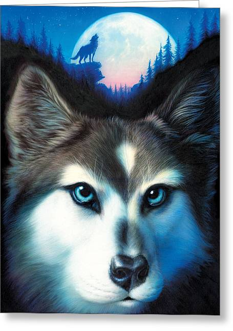 Wolf Portrait Greeting Cards - Wild One Greeting Card by Andrew Farley