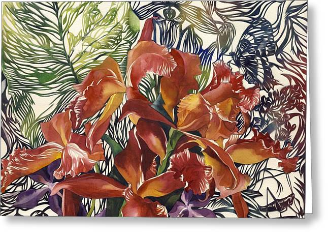 Cattleya Mixed Media Greeting Cards - Wild Orchid Greeting Card by Alfred Ng