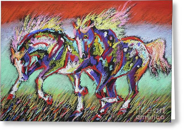 Coloured Pastels Greeting Cards - Wild Pastel Ponies Greeting Card by Louise Green