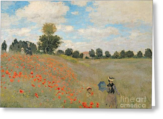 D Greeting Cards - Wild Poppies near Argenteuil Greeting Card by Claude Monet