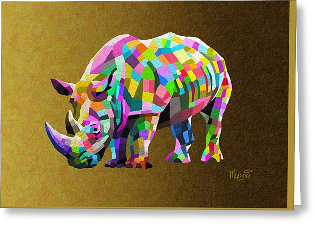 One Horned Rhino Greeting Cards - Wild Rainbow Greeting Card by Anthony Mwangi