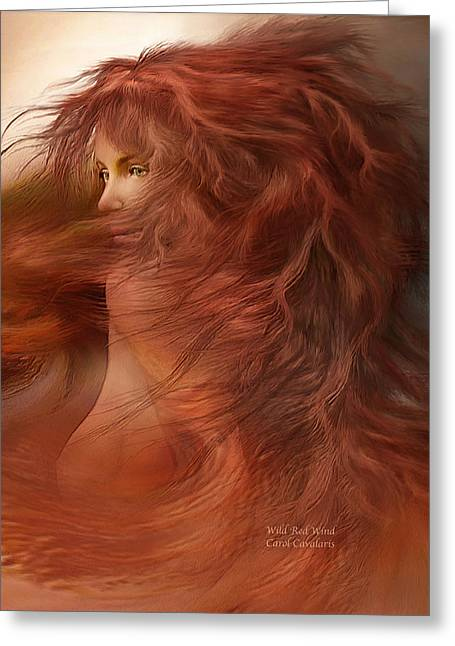 Windy Mixed Media Greeting Cards - Wild Red Wind Greeting Card by Carol Cavalaris