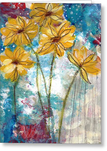 Whimsical. Greeting Cards - Wild Sunflowers- Art by Linda Woods Greeting Card by Linda Woods