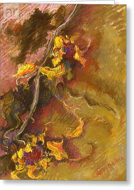 Expressionist Pastels Greeting Cards - Wild Sunflowers Greeting Card by Ellen Dreibelbis