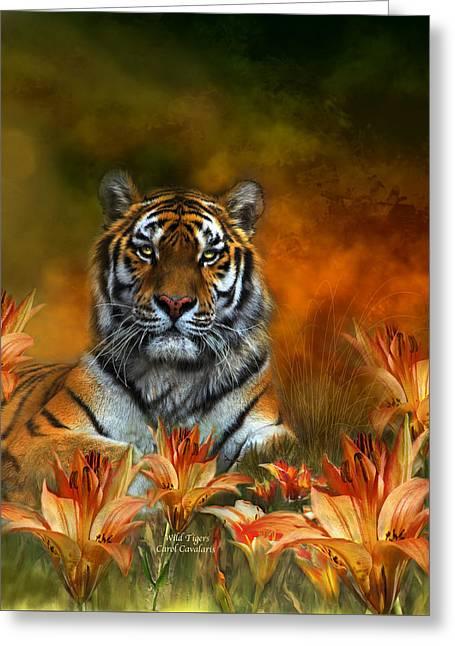 Tiger Lily Greeting Cards - Wild Tigers Greeting Card by Carol Cavalaris
