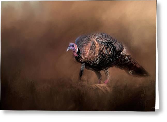 Wild Turkey In The Woods Greeting Card by Jai Johnson